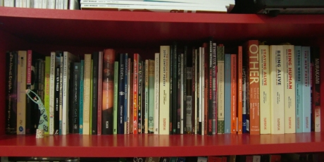 One shelf of an ever-increasing poetry collection